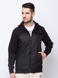 Solid  High Neck with Hooded Sweatshirt