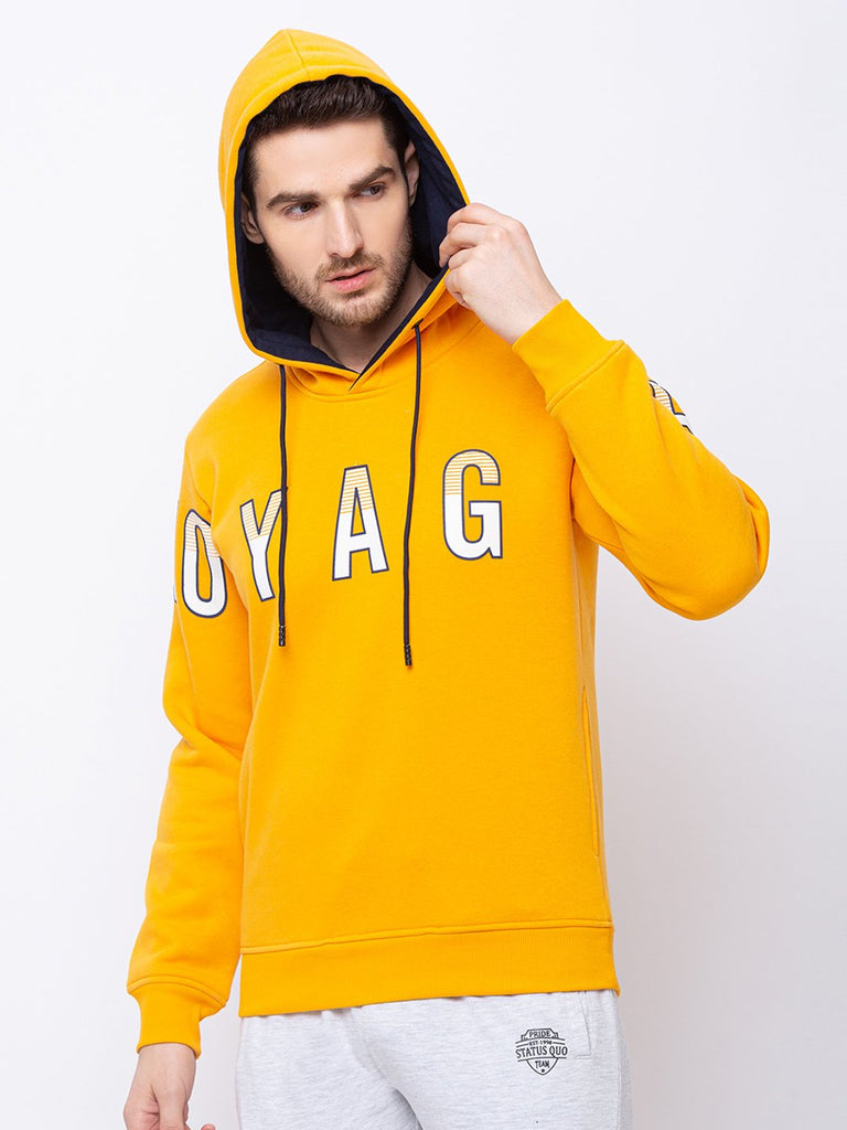 Printed Round Neck With Hood Sweatshirt