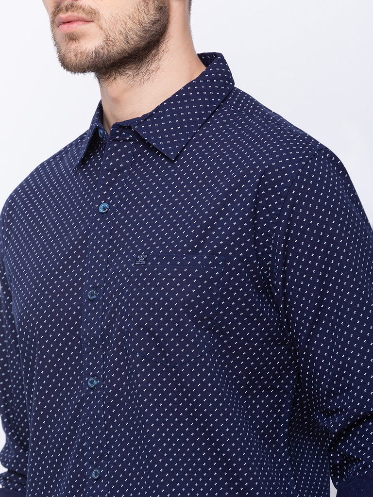 Printed Spread Collar Shirt
