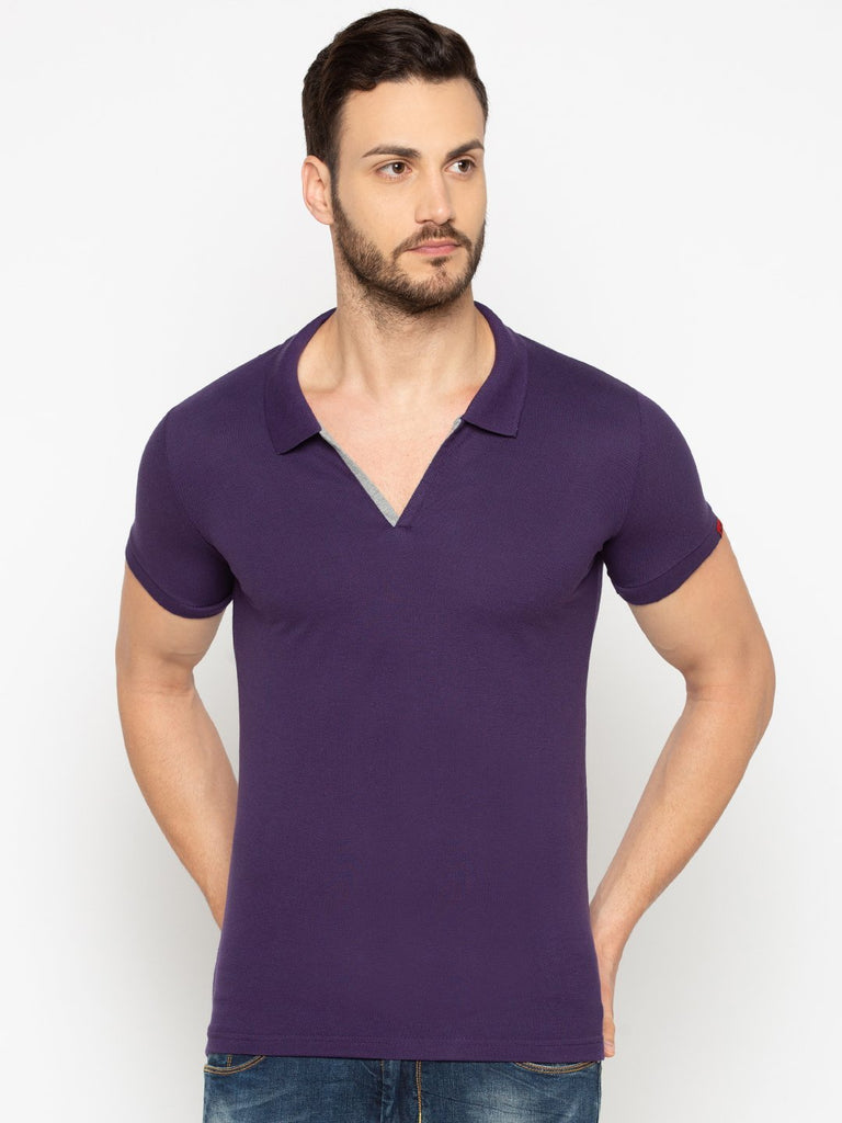 Slim Fit Purple Polo tshirt