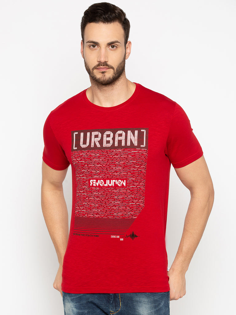 Red Chest Print T Shirt