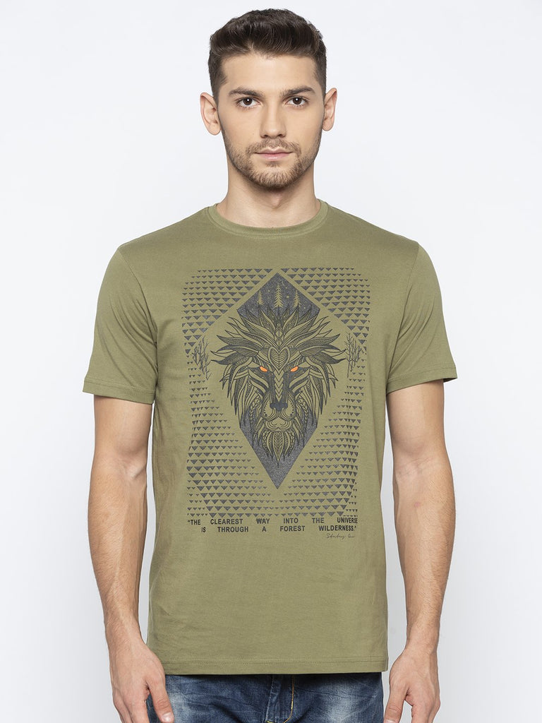 Green Chest Print T Shirt
