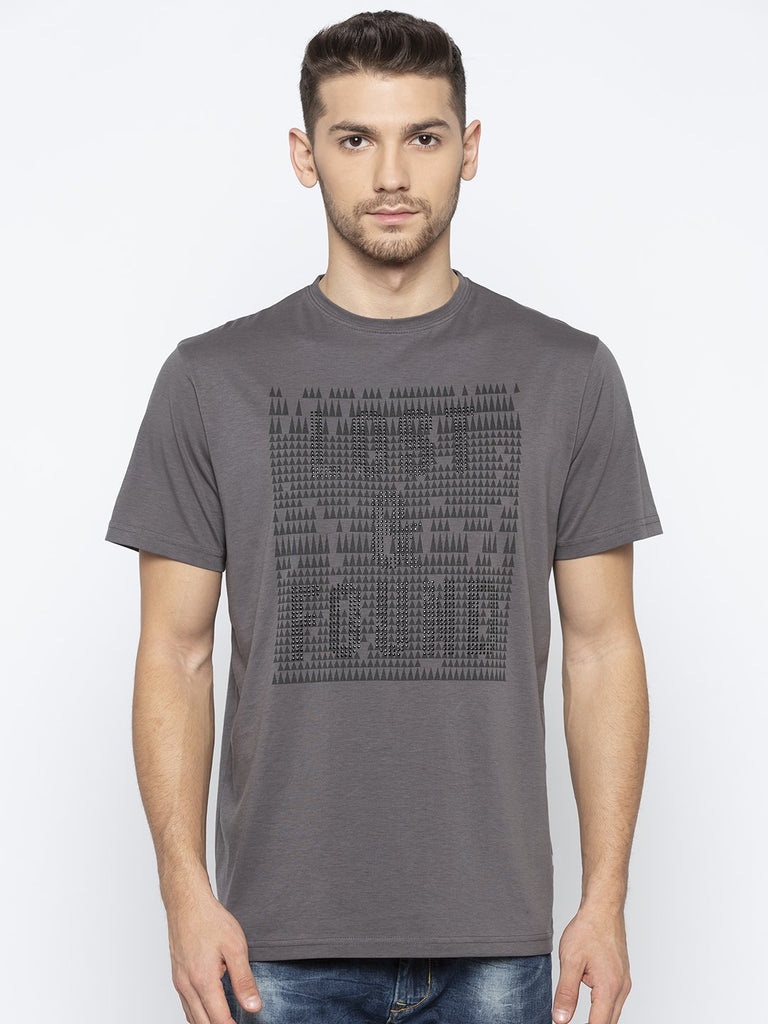 Grey Chest Print T Shirt