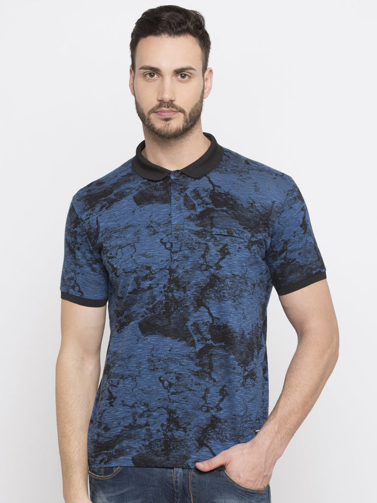 Blue Printed Polo Neck Tee
