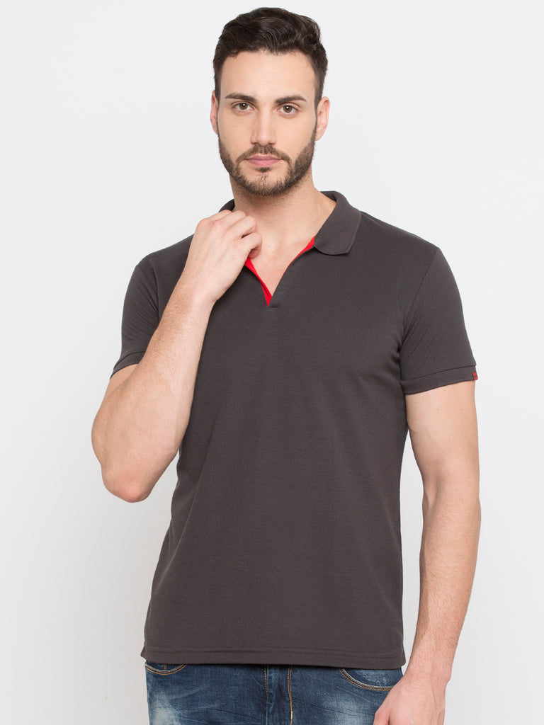 Dark Grey Slim Fit Polo Tshirt