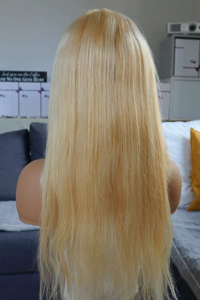 #613 Blonde Straight Human Hair Wig at WigyWigy.com