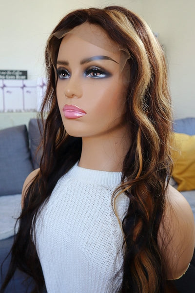 "24"" Highlighted Brown/Brunette Human Hair Wig"