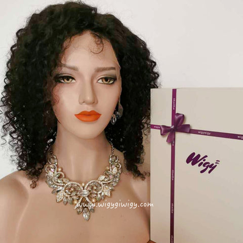 "14"", 200% density curly human hair wig in WigyWigy 14"""
