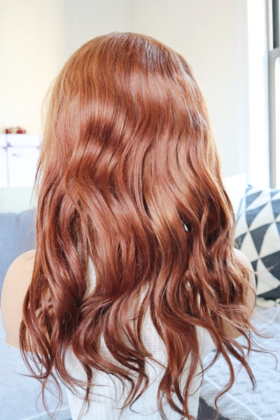 "16"" Autumn Orange/Ginger Brown Wavy Human Hair Wig"