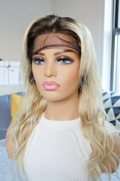 "16"" Rooted Blonde Wavy Human Hair Wig"