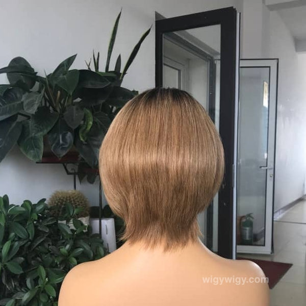 "8"" Rooted Brown Human Hair Bob Wig at wigywigy.com"