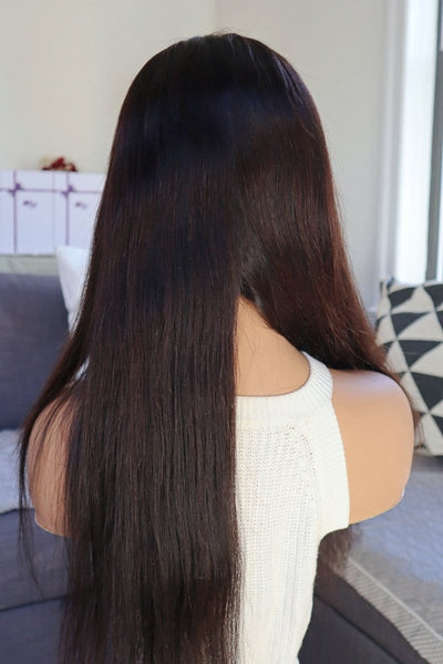"20"" Silk Smooth Glueless Wigs Natural Dark/Black Real Human Hair wigs Front Lace Wigs at Wi"