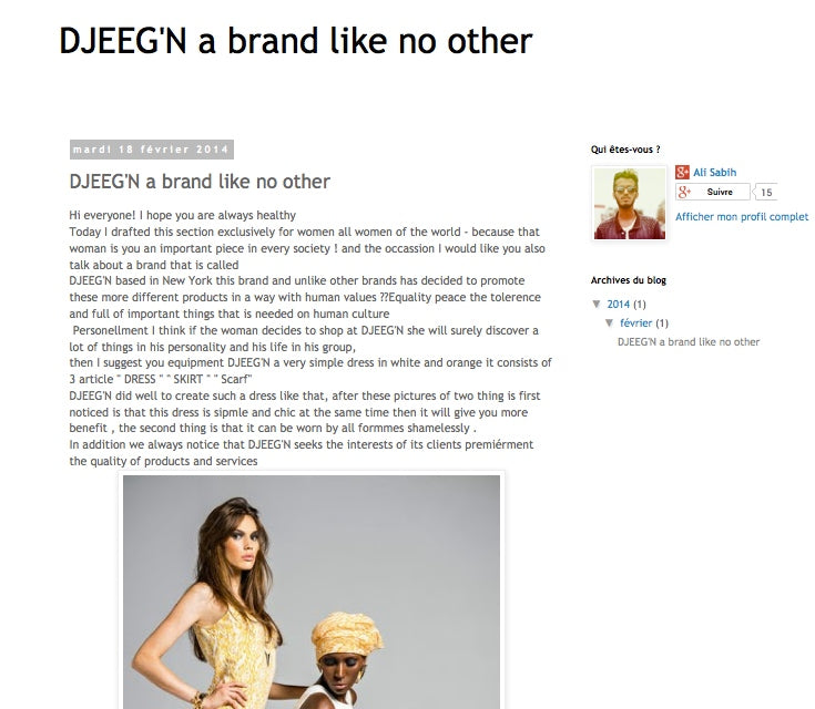 A DJEEGN feature on fashion blog Sabih Fashion