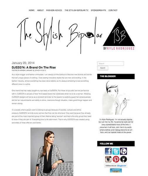 A DJEEGN feature by fashion blog The Stylish Bipolar