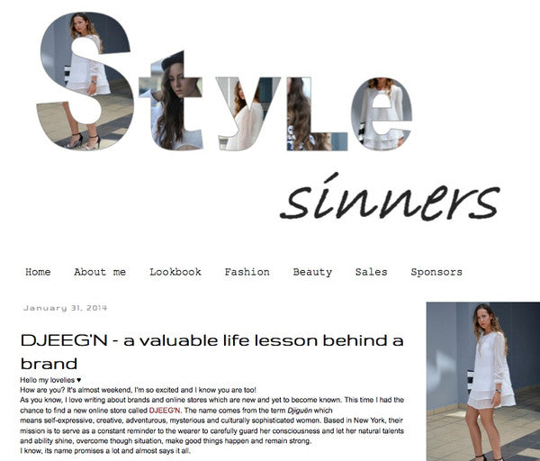 A DJEEGN feature by fashion blog Style Sinners