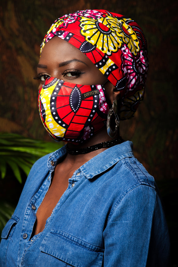 Set of Satin lined beanie and face mask in red ankara print