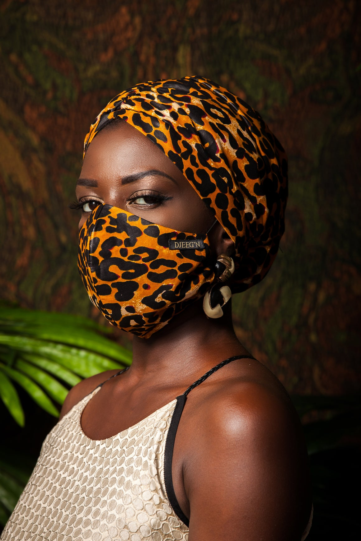 Set of Satin lined beanie and face mask with leopard print Ankara wax fabric