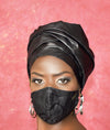 Turban and facemask set with satin lining in black bazin