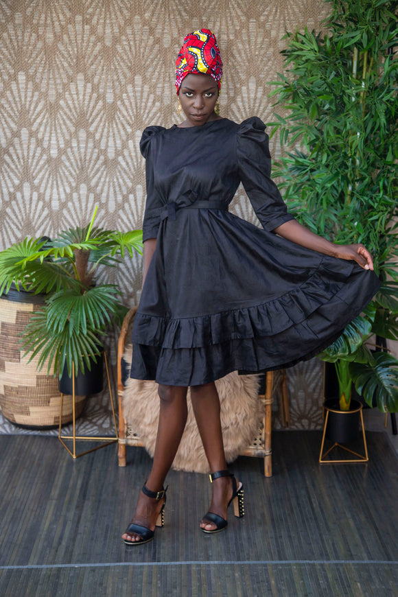 Bella dress, in Black bazin, Djeeg'n