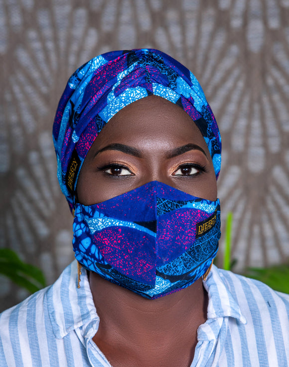 Set of Satin lined beanie and face mask in vibrant blue mix
