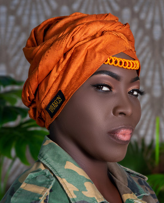 Turban and facemask set with satin lining in Caramel brown bazin