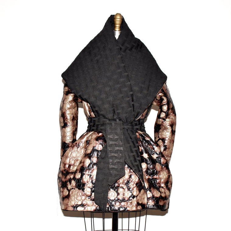 Reversible waterfall coat.