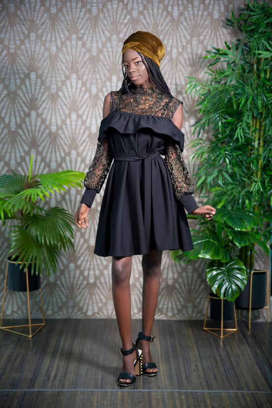 Cold shoulder Solange dress, black and African lace by Djeeg'n