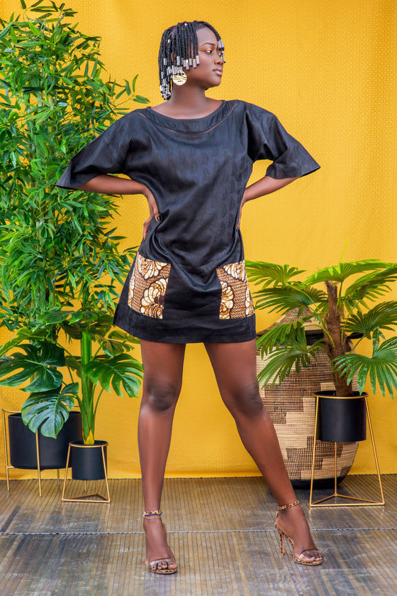 Dashiki black t-shirt dress