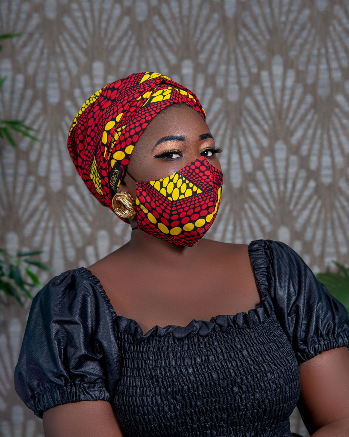 Turban and facemask set with satin lining in Red african print fabric