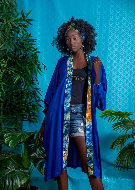 Kimono and headband set- Solid blue and tie dye details