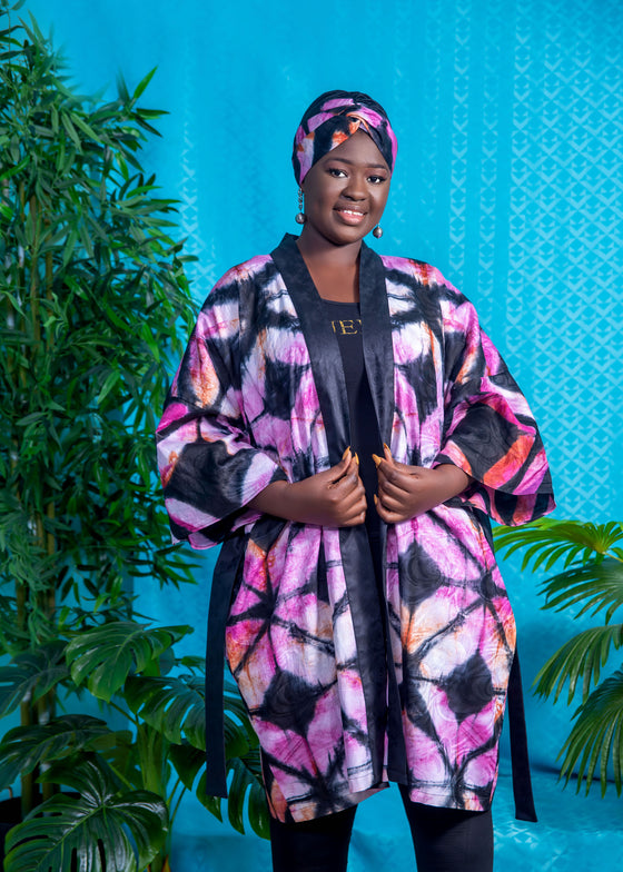 African print Kimono and headband set- Pink and black tiedye