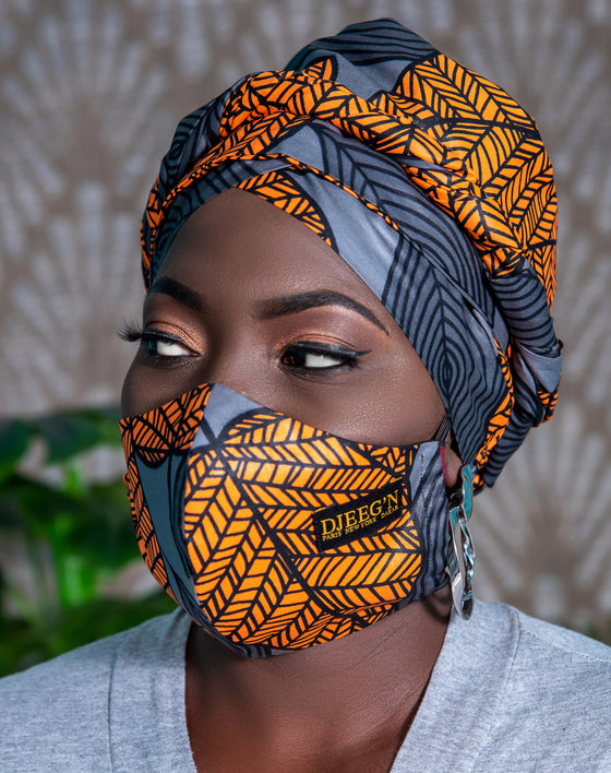 Turban and facemask set with satin lining in Grey foliage