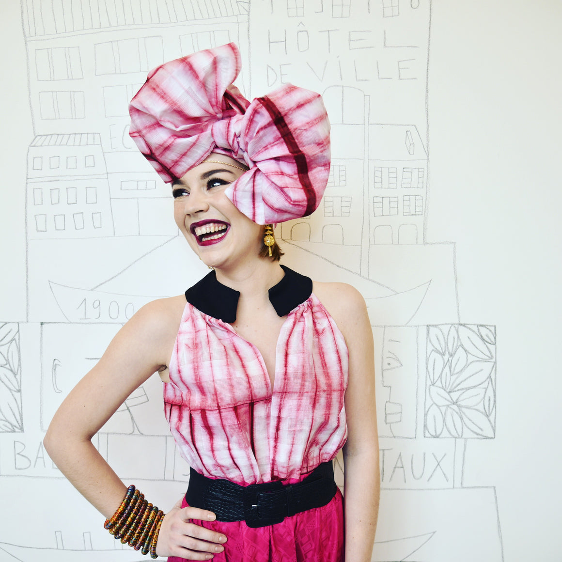 Headwrap - stripes tie dye- pink