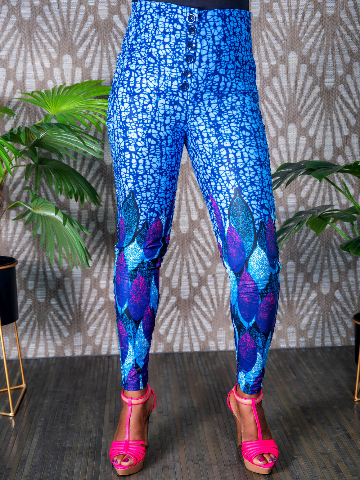 African print high waist slim pants (Blue web)