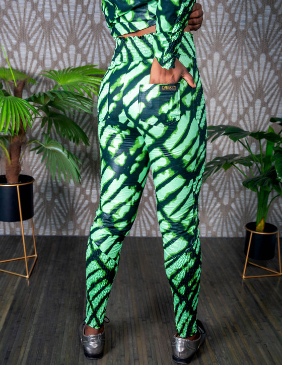 African print  High waist slim pants ( green tie dye)