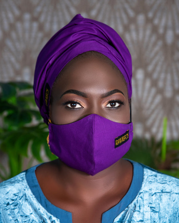 Turban and facemask set with satin lining in purple