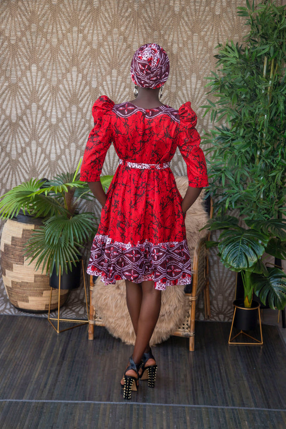 Bella dress, mix red print, Djeeg'n