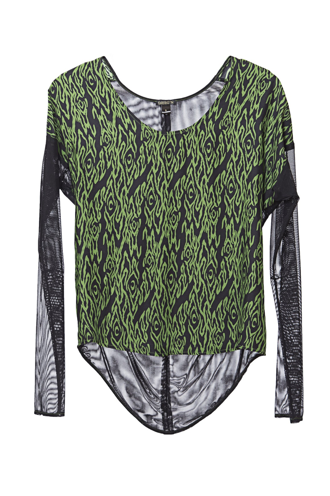 green and black silk mesh long sleeve top
