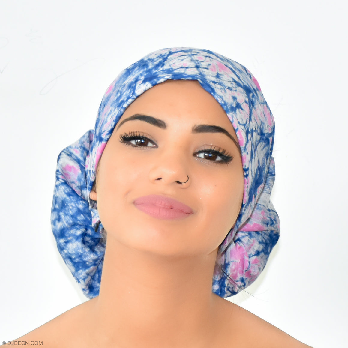Headwrap - Assamane tiedye- blue and pink