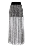 black and white spur print silk chiffon maxi skirt