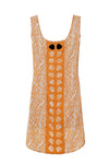 orange white printed silk tank dress
