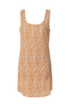 easy going orange white printed silk tank dress