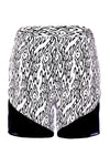 black and white spur print silk shorts