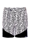 Soft miami style black and white spur print silk shorts