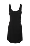beautiful blsck celebrity dress, black silk laser cut tank dress