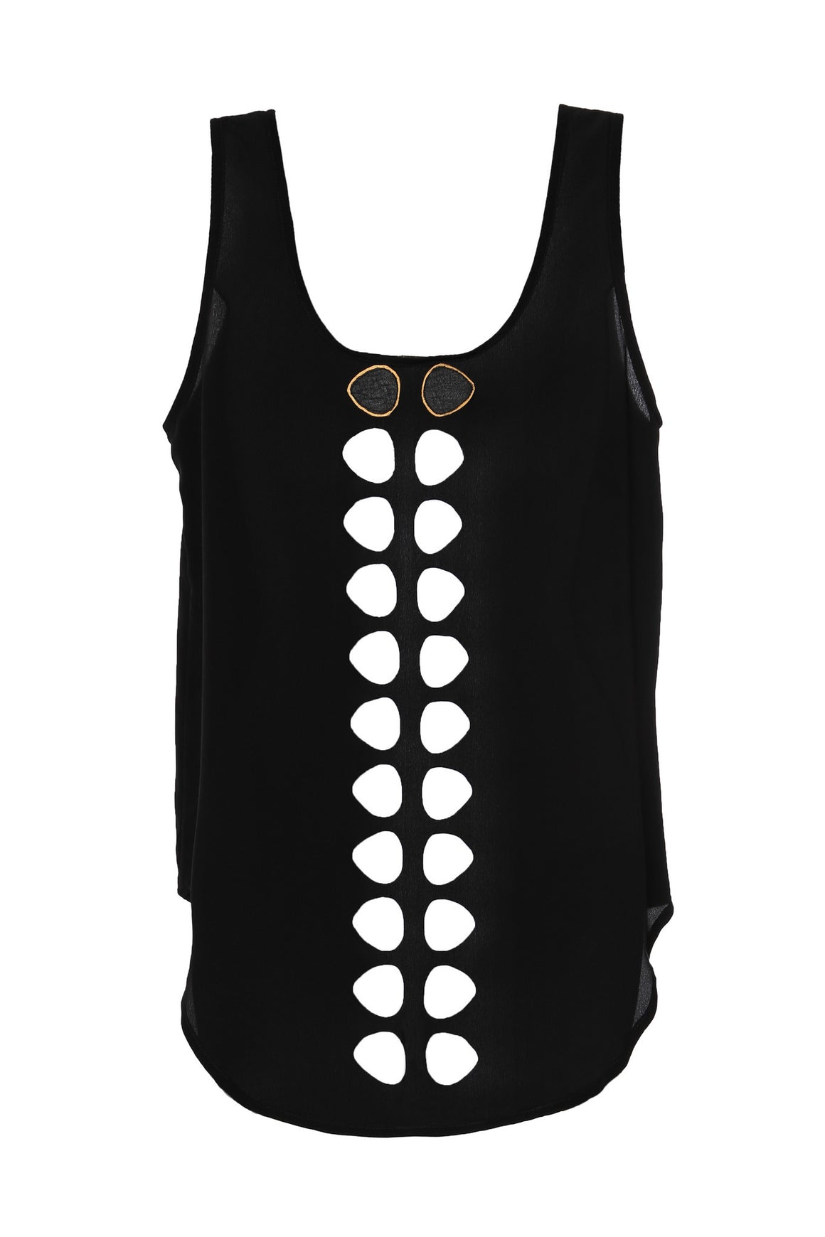 black laser cut silk tank top