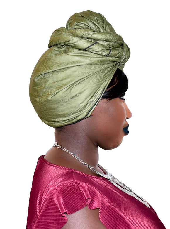 African damask headwrap in Solid green olive