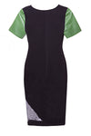 black ponte green leather designer con dress