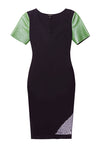 Very chic pencil black ponte green leather designer con dress