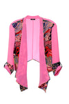 Beautiful pink printed silk crop jacket